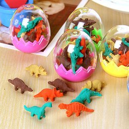 Wholesale Novelty Pencils Erasers - Wholesale-8 Pcs  Pack Erasers Hot Sale Students Stationary Gift Novelty Dinosaur Egg Pencil Rubber Eraser with egg