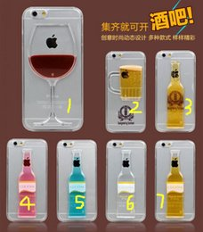 Wholesale Beer Hard Case Iphone - Red Wine beer liquid Case floating Flowing Liquid Water Aqua Movable Dynamic PC Hard cover For iPhone 7 5 5s 6 6s plus