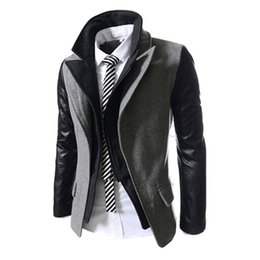 Wholesale Mens Blazer Leather Collar - Wholesale- 2015 New Fashion Mens Double Collar Blazer Masculino Leather Sleeves Patchwork Suit Jacket Slim Fit Blazers Men Jackets 13M0353