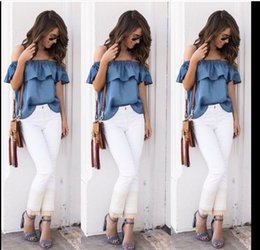 Wholesale Exclusive Cotton Shirts - 2017 Denim collar collar shoulder lotus leaf shirt exclusive design European and American fashion trends OSMY-105