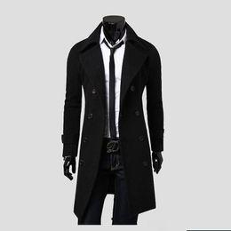 Vestiti di uomini di grandezza re online-Cappotto di formato reale casuale del cappotto dell'uomo di inverno della molla di inverno dei vestiti della sezione lunga di modo degli uomini all'ingrosso della maglietta Trasporto libero