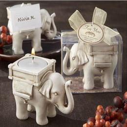 Wholesale Ivory Elephant Candle Holder - 50pcs lot Bridal Wedding Shower Favor Gift Ivory Fun Elephant Tea Light Candle Holder With Elegant Packaging #ERS47
