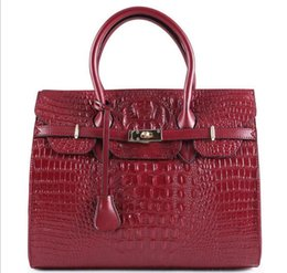 Wholesale Good Quality Handbag Brands - 35cm Fashion Women Handbags Good Quality Bright Cowhide Leather Women Bags Famous Brand Women Shoulder Alligator Bags Ladies Tote