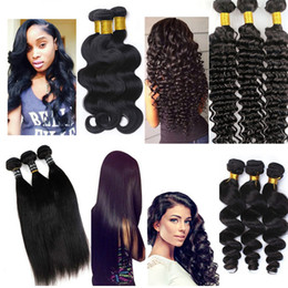 Wholesale Mixed Peruvian - Brazilian Hair Bundles Virgin Human hair weave Straight wefts 8-34inch Unprocessed Peruvian Indian Malaysian Dyeable Hair Extensions