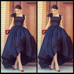 Wholesale Short Evening Taffeta Ball Dresses - Arab Style Black High Low Evening Dresses Sexy Front Short Back Long Evening Party Dress Gowns For Women's Formal Dresses
