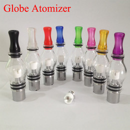 Wholesale E T Glasses - glass globe e cigarette dry herb atomizer dry herb vaporizer cottom single coil atomizer ecigs wax vape pen for ego t evod battery