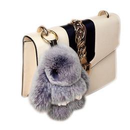 Wholesale Man Ring Jade Silver - Newest 13cm 18cm Rabbit Fur Balls Bunny Key Rings as Women Handbag or Car Pendants 40 Colors Pompoms Keychains