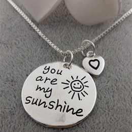 Wholesale Couple Necklace Design - New design heart necklaces you are my sunshine smiley necklaces couple necklaces free shipping