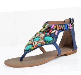 Wholesale Blue Wedding Flip Flops - Plus size bohemian colorful gem bead rhinestone sandals flat sandals women flip flops beach shoes size 34 to 40 41