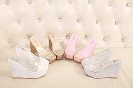 Wholesale Transparent Platform Heels - Wholesale-2016 Transparent woman Slippers Wedges Sandals Super High heels female Summer Beach platform Non slip High Shoes zapatos mujer