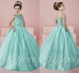 Wholesale Kids Pocket Dress - Mint Green Sparkling Crystals Ball Gown Princess Little Girl's Pageant Dresses Lace Up Kids Flower Girls Dress Birthday Gowns With Pockets
