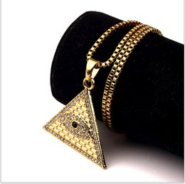 Wholesale Egypt Crystal - stainless Steel Rapper Mens High quality 18K Gold Plated hip hop Egypt Eye of Horus Pyramid aaa crystal Pendants Box chain Necklaces Jewelry