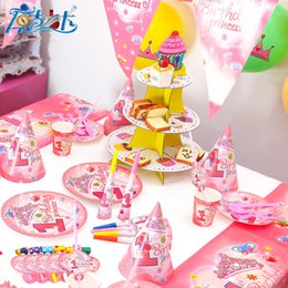 Wholesale Happy Birthday Straw - 36pc 61pc 116pc 1 year girl kids happy birthday party decoration supplies favors plates cups straws for 12 people