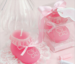 Wholesale Favor Shoes - Wholesale- 20pcs Pink Baby Sock Shoe Candle For Wedding Party Baby Shower Birthday Souvenirs Gifts Favor New Hot