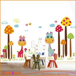 2019 diy giraffa decorazione Nuovo arrivo rimovibile Adesivo Wall Sticker Cute Cartoon Giraffe FAI DA TE Wallpaper Art Decalcomanie Murale per la decorazione della stanza 50 * 70 cm diy giraffa decorazione economici