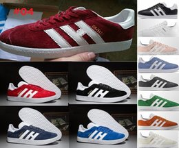 Wholesale Fur Winter Shoes - 26 color new arrival Top Quality 2017 Mens Women Casual Suede Gazelle og Black Grey Red pink Lightweight Walking racer Shoes US5.5-10