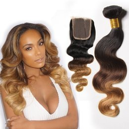 Wholesale Blonde Lace Top Closure - Ombre Hair Extensions Three Tone Brown Blonde 1B 4 27 Ombre Brazilian Body Wave Human Hair Weave Bundles With 4x4'' Lace Top Closure