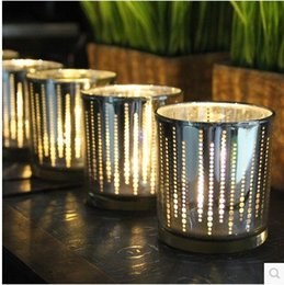 Straight Cup Candler Small Dots Electroplate Glass Candle Holders Wedding Giveaways Mini Candelabro Popular High Quality 9 6yy B R desde fabricantes
