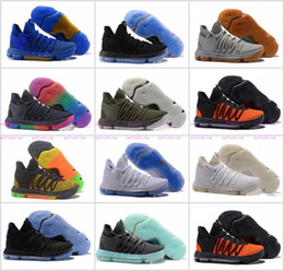 Wholesale Kd Shoes Mens - 2017 FMVP Correct Version Kevin KD X 10 Elite 8 Playoffs Mens Basketball Shoes Warriors Home Wolf Durant 10s Training Sport Sneakers US 7-12