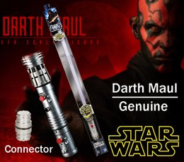 Wholesale Stars Wars Toys - Star Wars Darth Maul Double-Bladed Lightsaber Hasbro Genuine toys Flash Sword FX LED Electronic Lightsaber Toy red Sound With connector