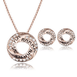 Wholesale Two Girls Necklace - 2016 summer new European and American fashion necklace earrings two - piece jewelry Bride banquet Jewelry Sets