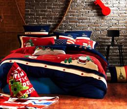 Garngefärbte Wolle gebürstetem Stoff reaktiven Druck Bettlaken Bettwäsche vier Stück Bettwäsche-Set, Blume Streifen Cartoon Designs rot blau rosa Gard von Fabrikanten