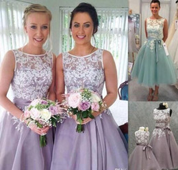 Wholesale Tea Length Wedding Dresses Organza - 2016 New Short Tea Length Bridesmaid Dresses Lace Appliques Sheer Bateau Neck Lavender Purple Blue Organza Wedding Party Gowns With Sash