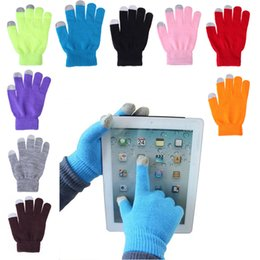 Wholesale Ipad Fall - New 12 Colors Winter Gloves Conductive Finger Touch Screen Gloves for iPhone iPad Mini Samsung Edge Note Smart Phone Gloves Christmas Gift