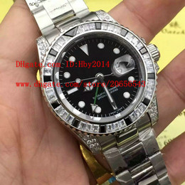 Wholesale Mens Watch Diamond Dive - New 116759 Black Blue diamonds bezel Luxury Brand Mens Automatic mechanical watches 40mm Mens sports dive wristwatches High quality Sapphire