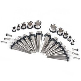 Wholesale Steel Expander - 32Pcs Stainless Steel Acrylic 14G-00G Tapers & Plugs Ear Gauges Expander Stretching Kit