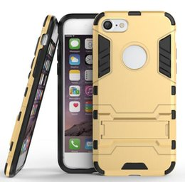 Wholesale Ironman Armor - 2 in 1 Hybrid Stand Hard PC TPU Armor Case For Iphone 7 I7 Plus Iphone7 Dual Color Impact Ironman Kickstand Phone Skin Cover Fashion 200pcs