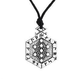 Wholesale tibetan steel necklace - Wholesale- Dawapara Yggdrasil Armanen Viking Runes Talisman Tree of Life Pendant Kabbalah Vintage Long Tibetan Neck Jewelry