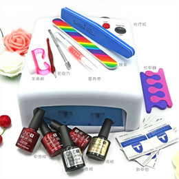 Wholesale Gel Nails Set Lamp 36w - Wholesale-NEW Lulaa 10 in 36W UV lamp 7 of Resurrection nail tools and portable package five 10 ml soaked UV glue gel nail polish set