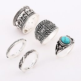 Wholesale Ancient African Jewelry - 5pcs set Retro Silver Ring For Women Hot selling Gothic Elephant Ancient silver Turquoise Joint Ring Jewelry Set New Fashion Wholesale NICE