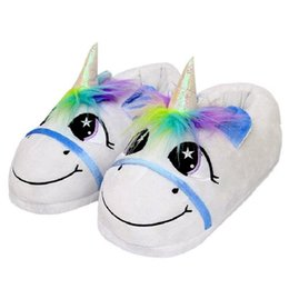 Wholesale Adult Slipper Shoes - Plush Rainbow Unicorn Slippers Adult Indoor Furry Fur Cute Winter Warm Flip Flop Shoes Soft Cosplay Slipper 2pcs pair OOA3149