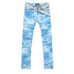 Wholesale Fresh Male - Colored drawing jeans male sky blue print elastic denim pant for men pure and fresh COOL jeans Free shipping