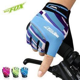 Wholesale Glove For Fitness - BATFOX Unisex Summer And Spring Cycling Gloves Half Finger Nylon Lycra Absorbent Sport Bicycle Gloves MTB Bike Gloves For Fitness