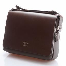 Wholesale Leather Briefcase Laptop - Brand Designer Men Genuine Leather Handbag Black Brown Briefcase Laptop Shoulder Bag Messenger Bag 4 size