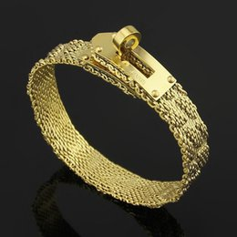 Wholesale 18k Gold Watches For Women - Watch Chain H Letter Rotary Buckle Bangles Bracelets For Men Women Top 316L Stainless Steel 18K Yellow Rose Gold Plated Hot Fashion Jewelry