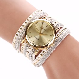 Wholesale Acrylic Quartz Crystal - 8 Colors New Arrival luxury brand Casual Women's Watches PU Leather Korean Crystal Rivet Bracelet Watch Girls ladies Watches