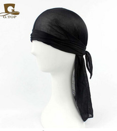 Wholesale Wholesale Plain Satin Headbands - 2016 Luxury Fashion Unisex Satin Durag du rag doo rag head wrap Silk Headband for women