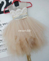 Wholesale Tulle Party Dresses For Girls - Cute Flower Girl Dresses for Wedding Party Champagne Lace Tulle Knee Length Beaded Belt Sheer Crew Neck 2016 Baby Communion Birthday Dresses