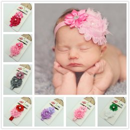 Wholesale shabby hair - Baby Girls Crysatal Shabby Headdress Toddler Headband Hairband Headwear Flower Bow Hair Band