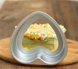 Wholesale Heart Cake Pans Wholesale - 2pcs  Lot 3inch Lovely Heart-shaped Aluminum Sandwich Toast Cake Pan Removable Loose Bottom Pudding Mold DIY Baking Pastry Tools