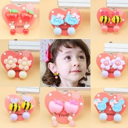 Wholesale Kid Earrings Wholesale - 2017 Childrens Cute ear clips design accessory Jewelry Baby girls Resin earings Girl's Stud Earrings Kids 28 styles DHL free shipping