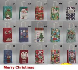 Wholesale Paper Gift Bags Orange - Christmas paper shopping bags handle gift bag 21*13*8cm 100% Eco friendly Top quality shopping bag wholesale Fedex Freeshipping X'mas bags