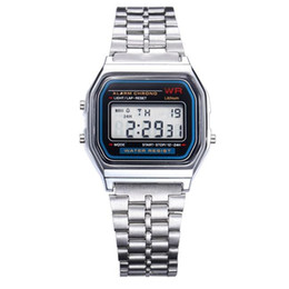 Wholesale Mens Watches Square Digital - LED Digital Watches Stainless Steel Mens Watches Students Electronic Sports Watch Date Multi-Purpose Wrist Watches For Mens F-91W @CA