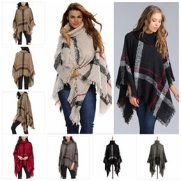 Wholesale Women Winter Cardigans - Plaid Poncho Scarf Tassel Fashion Wraps Women Vintage Knit Scarves Tartan Winter Cape Grid Shawl Cardigan Blankets Cloak Coat Sweater YYA507
