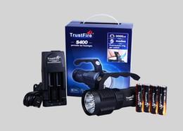 Wholesale Trustfire Led Flashlights - TrustFire S400 3000LM 4*CREE XM-L2 LED Flashlight Warerproof Torch Light + 4pcs 18650 Battery + Charger Suit Combination