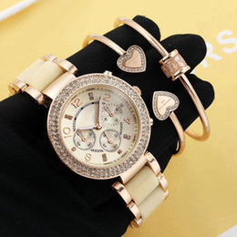 Wholesale Bracelet Box Pink - AAA Dress 3 sets ladies watches & bracelet luxury brand diamond bezel Fashion quartz watch for women girl best gift with box relojes mujer